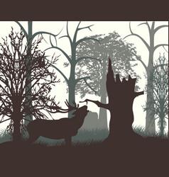 Deer in wood in the morning vector