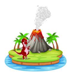 dinosaur and volcano eruption vector image