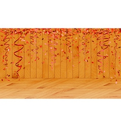 falling red confetti in wooden room vector image vector image