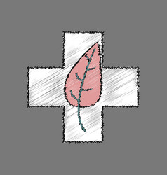 Flat shading style icon medical cross with leaf vector