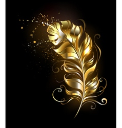 Golden Fluffy Feather vector image vector image
