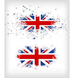 Grunge british ink splattered flag vector