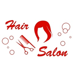 hair salon red symbol vector image vector image