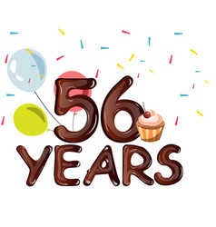 happy birthday fifty six 56 year vector image vector image