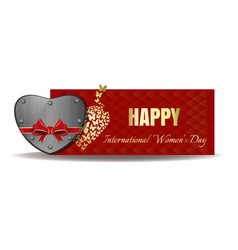 Iron heart tied with red ribbon womens day vector