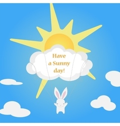 Little cute white Bunny flies cloud vector image