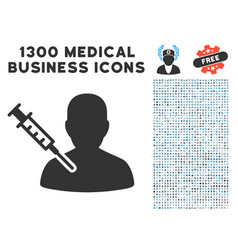 man vaccination icon with 1300 medical business vector image vector image