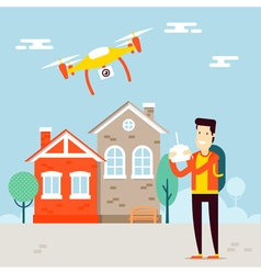 Man with copter city vector