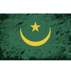 Mauritanian flag Grunge background vector image vector image
