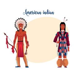 native american indian man shirtless in feather vector image vector image