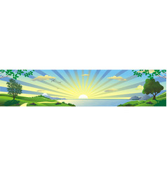 panorama of the sunrise over the bay vector image