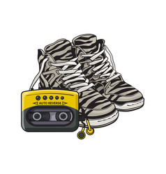 Retro style attributes - zebra sneakers sport vector