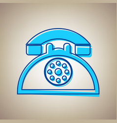 retro telephone sign sky blue icon with vector image