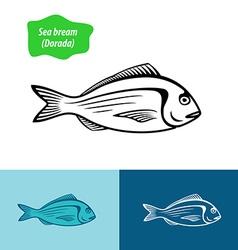 Sea bream silhouette vector image