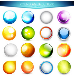 Set of colorful aqua buttons vector image