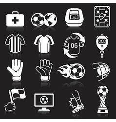 Soccer icons on black background vector image