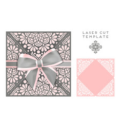 Wedding card laser cut template vector