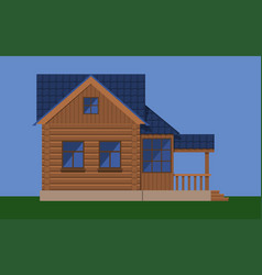 Wooden house with attic and porch vector
