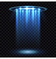 Ufo light beam aliens futuristic spacecraft vector