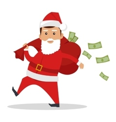 Santa claus character with cash concept vector