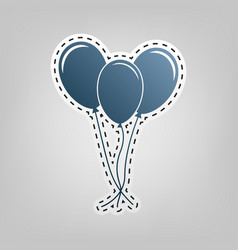 balloons set sign  blue icon with outline vector image