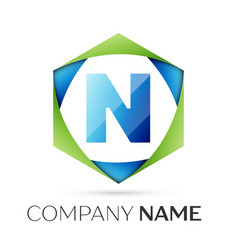 letter n symbol in the colorful hexagonal vector image