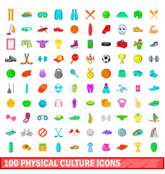 100 physical culture icons set cartoon style vector
