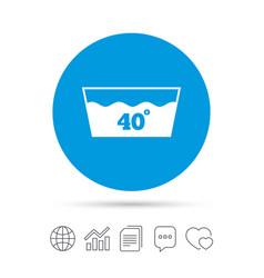 Wash icon machine washable at 40 degrees symbol vector
