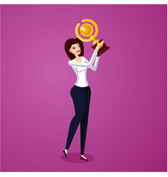 Successful business woman holding award winner cup vector