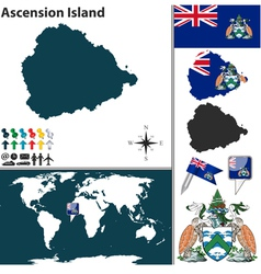 Ascension island map world vector