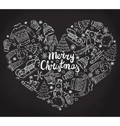Set of hand drawn winter holiday elements in heart vector