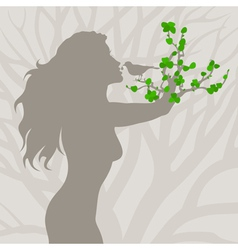 Girl tree arm vector