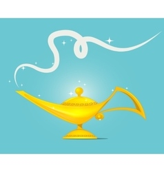 Golden magic lamp design vector