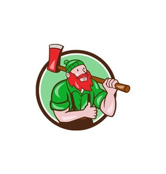 Paul bunyan lumberjack axe thumbs up circle vector