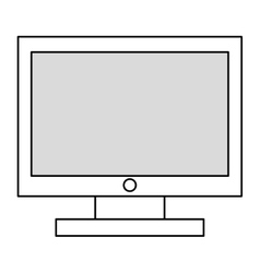 Black line computer monitor vector