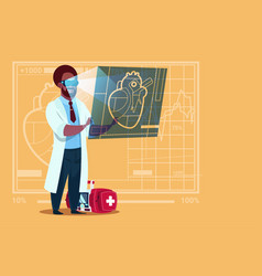 African american doctor cardiologist examining vector