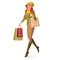 Beautiful redhead woman walking with vector