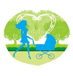 Beautiful woman pushing a stroller vector