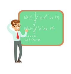 Boy mathematician writing formulas on blackboard vector