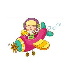 Boy pilot airplane vector