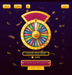 casino menu web design with wheel of fortune vector image