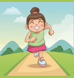 Children day happy cute little girl on the road vector