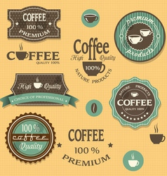 Coffee labels for design vintage style vector image vector image