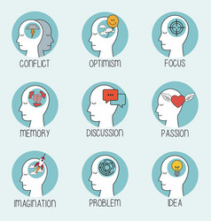 Collection profile human head brain vector
