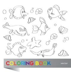 Coloring book - marine life vector