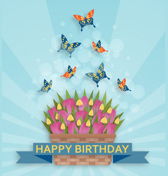 Cute happy birthday background with tulips and vector