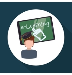 E-learning design education icon online concept vector