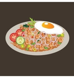 fried rice drawing cusine food vector image vector image