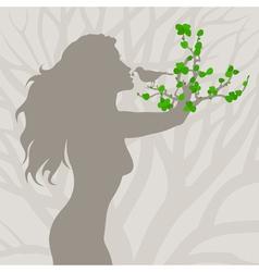 girl tree arm vector image vector image