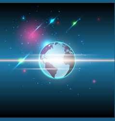 Global and stars communication technology vector
